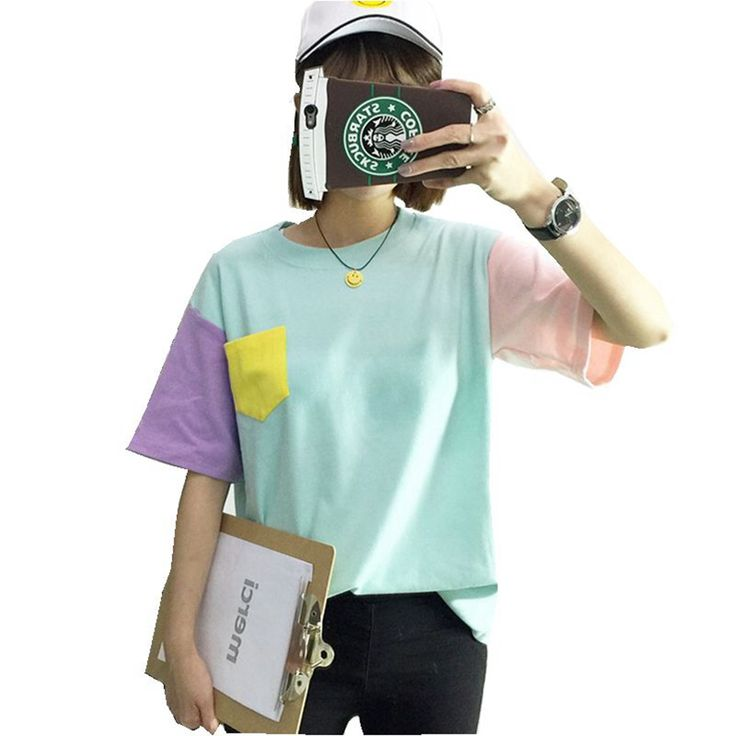 2016 Summer Style Fashion Women Harajuku Patchwork T Shirts Kawaii Casual Cotton Spell Color Patchwork De Mujer Free Shipping