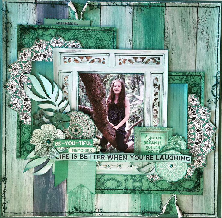 Layout for the Merly Impressions January Crop kit, using the gorgeous Ubud Dreams Kaisercraft collection.