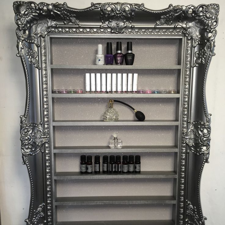 Beautiful sparkling pewter silver nail polish beauty display frame                                                                                                                                                       More