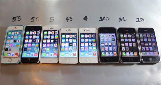 alle iphones op een rijtje