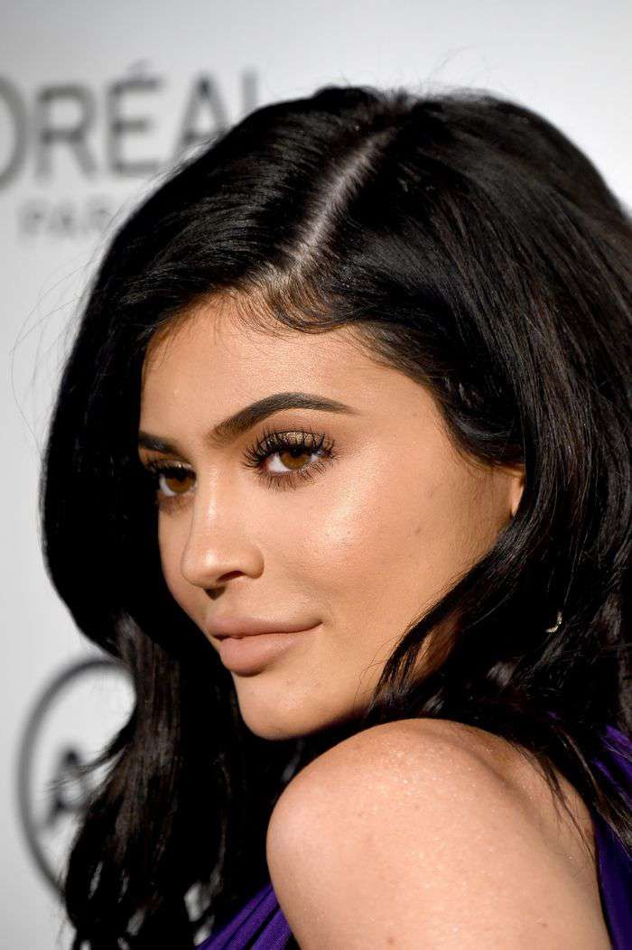 TV personality Kylie Jenner shows off a matte lip look.