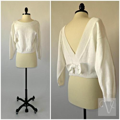 VTG 90s WHITE COTTON DEEP V BACK BOW CROP KNIT SWEATER TOP jumper dress XS S M