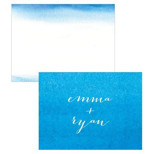 Aqueous Note Card Caribbean Blue (24)