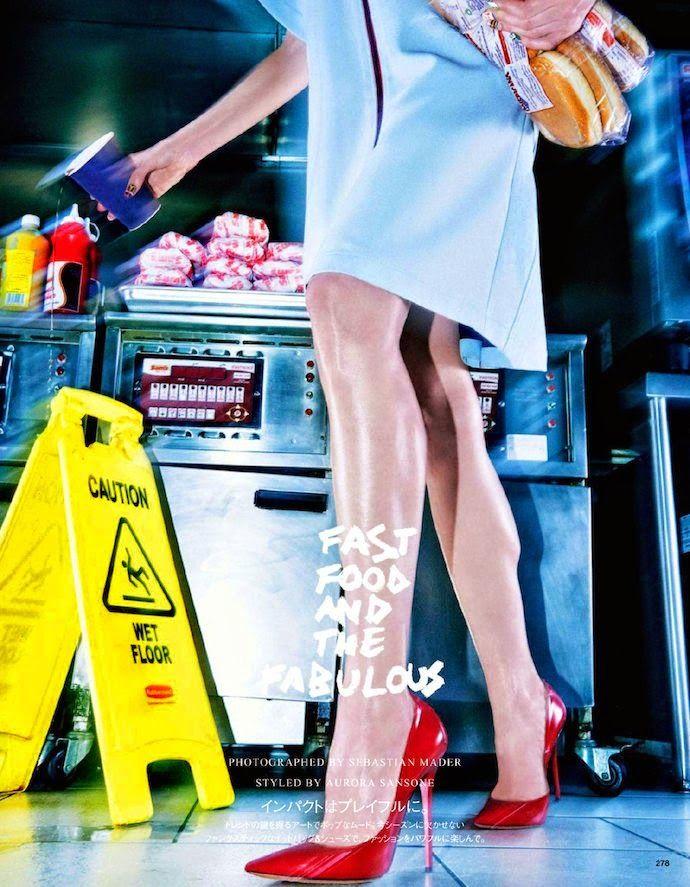 """Fast Food and the Fabulous"": Abi Penhale & Eva Sulejka by Sebastian Mader for Vogue Japan December 2014"