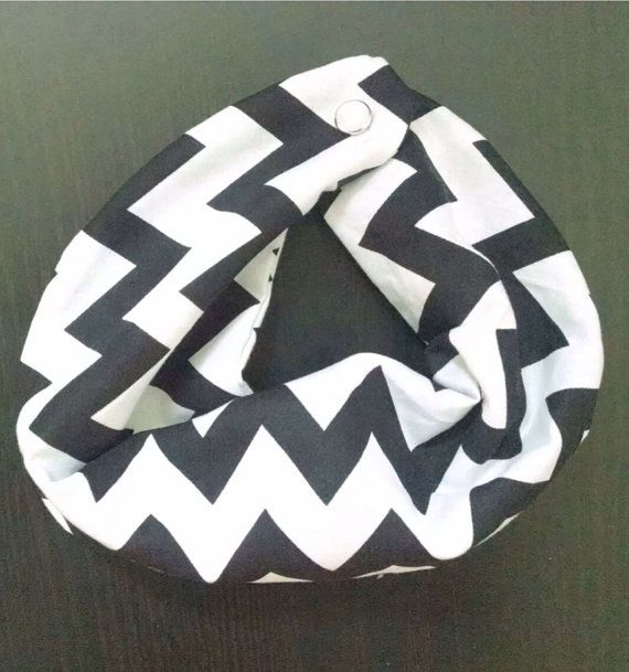 Baby Infinity Scarf Bib Black and White by AChicBabyBoutique