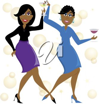 Clip art illustration of a cartoon of African American women ...