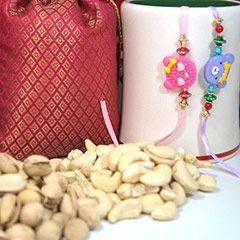 2 Kids Rakhi with Dry Fruits