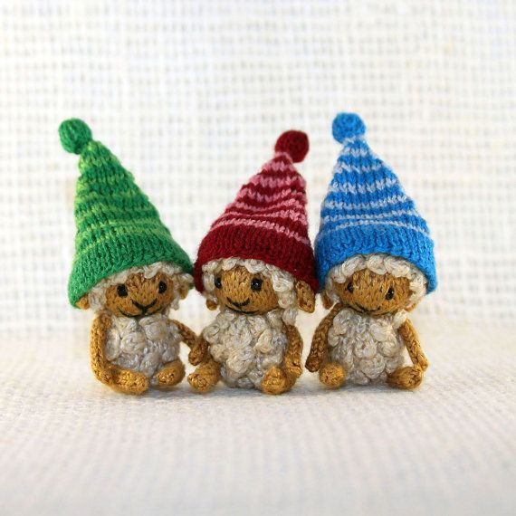 Sheep in striped caps knitted sheep dollhouse by SecretFriends