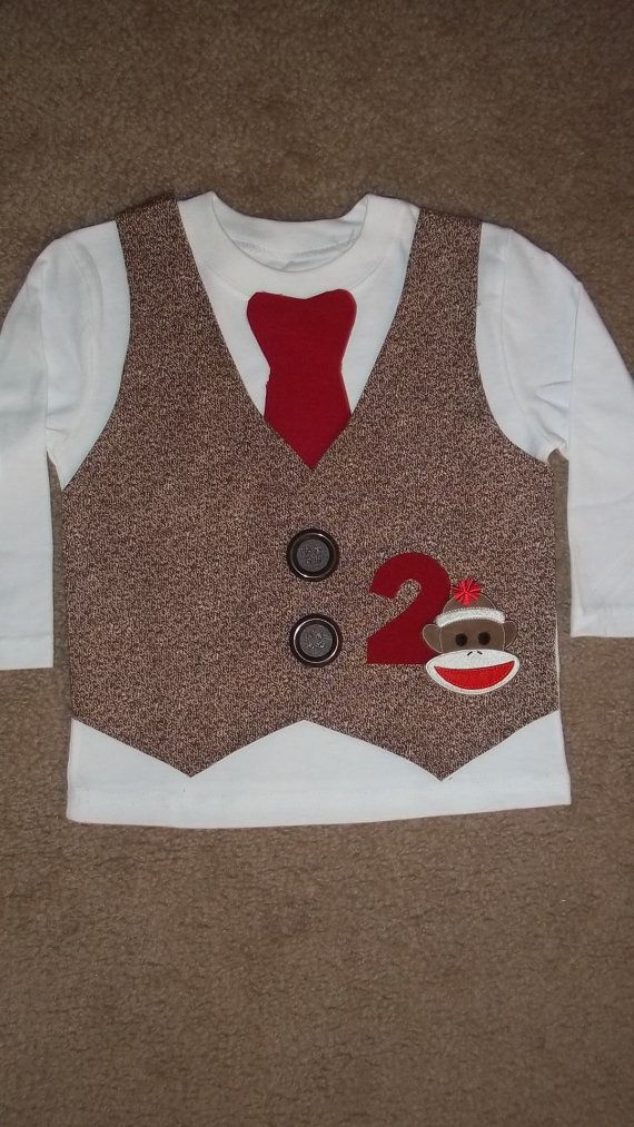 Sock Monkey Vest and Tie Shirt by kwatson2010 on Etsy, $25.00