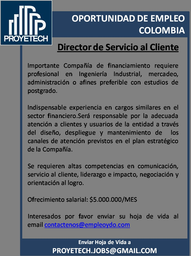 COLOMBIA:  OPORTUNIDAD DE EMPLEO SECTOR FINANCIERO
