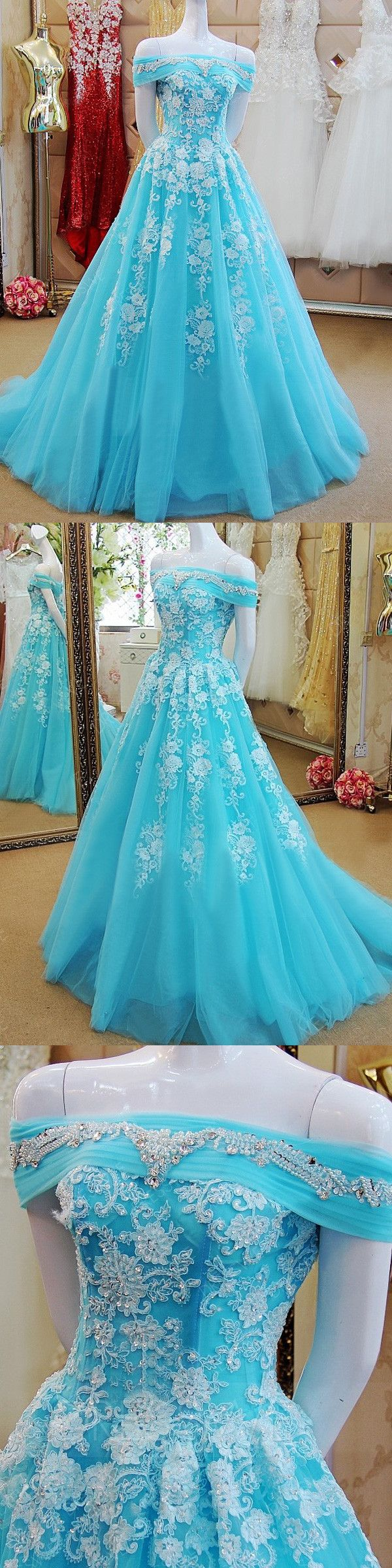 A-line Off-the-shoulder Floor-length Short Tulle Prom Dress/Evening Dress # VC422
