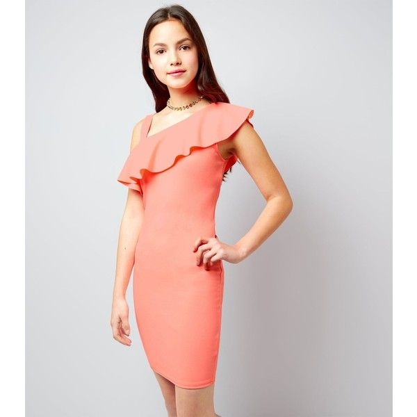 New Look Teens Coral Asymmetric Frill Trim Bodycon Dress ($23) ❤ liked on Polyvore featuring dresses, apricot, night out dresses, one shoulder cocktail dress, coral dresses, cocktail party dress and coral party dress