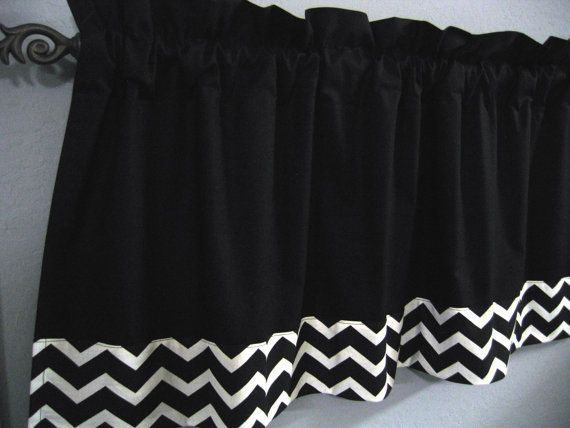 Black and White  Chevron Valance Kona Cotton Would LOVE this in royal blue or navy