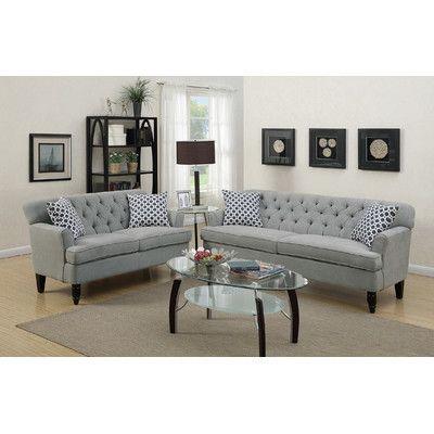 Infini Furnishings Sofa And Loveseat Set Upholstery Taupe Gray