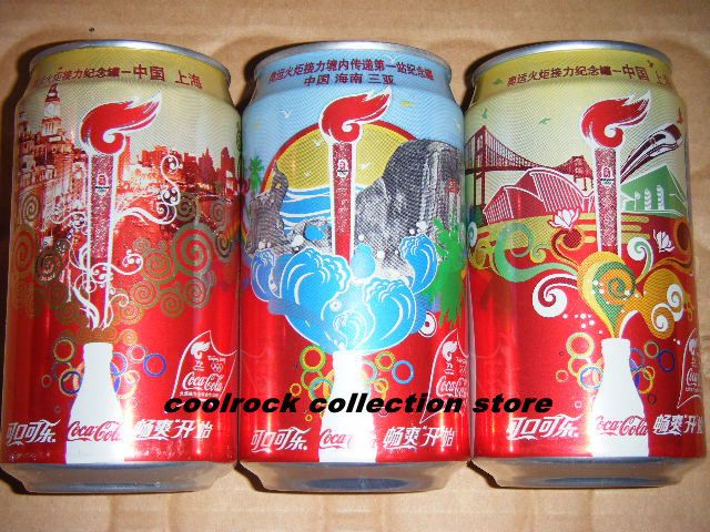 2008 China coca cola Beijing Olympic Torch Relay 3 cans set 355ml empty #cocacola #can
