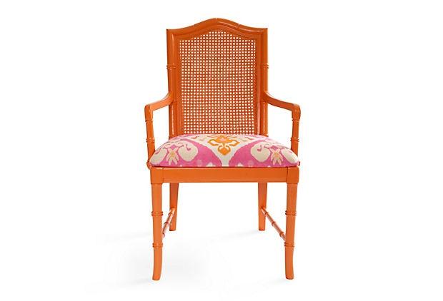 Orange Faux-Bamboo Desk Chair: Chairs Luv, Desks Chairs, Glam Chairs, Bamboo Chairs, Bold Furniture, Orange Chairs, Orange Faux Bamboo, Faux Bamboo Desks, Fun Colors