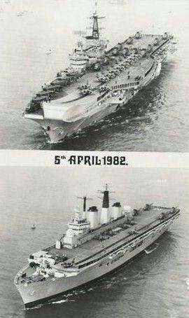 HMS Hermes (R12) & HMS Invincible (R05), Falkland Islands, 1982.