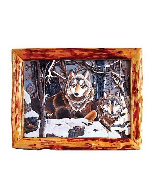 Intarsia Wood Art- Wolves in Winter