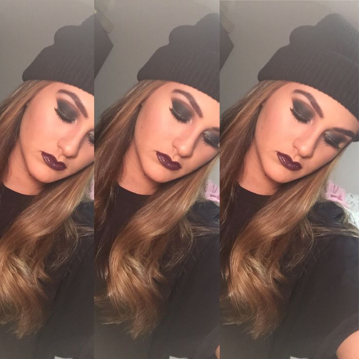 Bank robber makeup, I went with a black smokey eye with a brown time to blend and a deep purple lip to pull it all together