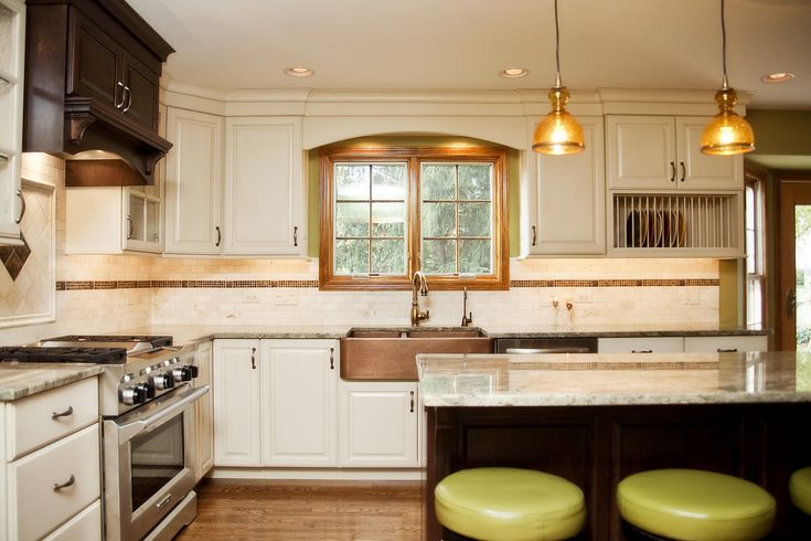Hint Of Green Two Tone Kitchen With Copper Accents
