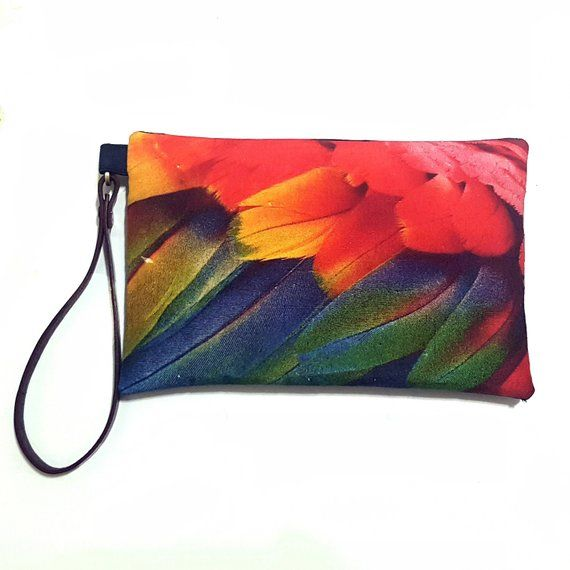 fa0f750a86 Bright Coloured Parrot Feather Zipper Clutch Bag - Printed Silk Cosmetics  Pouch - Handy Linen  amp