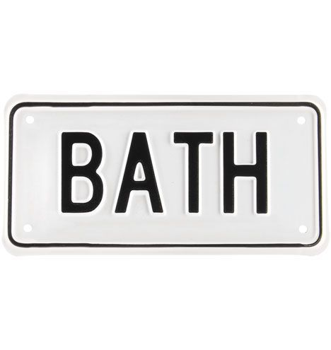 Rejuvenation - Bath Sign $24 Unobtrusively direct any wayward guests to the restroom with this hand-stamped sign.    Our steel signs are made in Portland, Oregon, by a 114-year-old company. It's the last remaining private license plate manufacturer in the U.S., supplying plates for Oregon, Washington, California, and Hawaii.