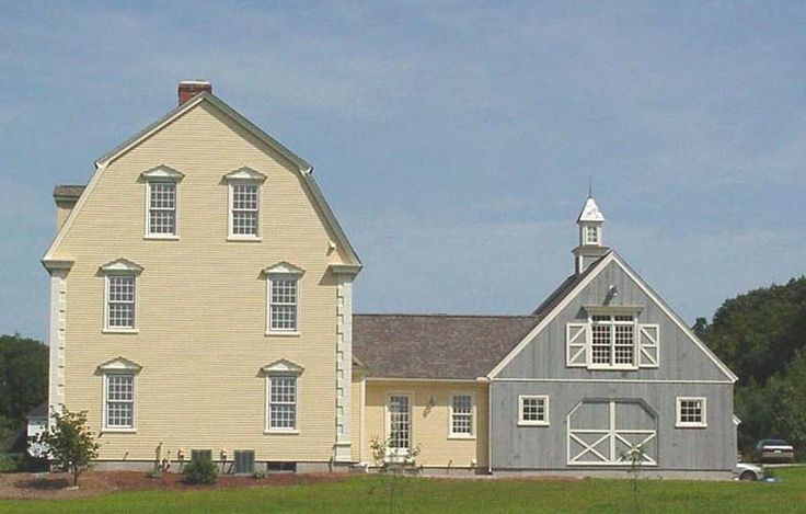 Attached barn colonial style homes pinterest gambrel for Dutch style barn