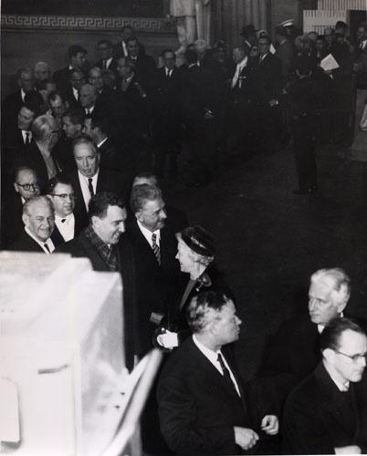 Maine Senators Edmund Muskie and Margaret Chase Smith talk before President Kennedy's Inauguration, January 20, 1961.