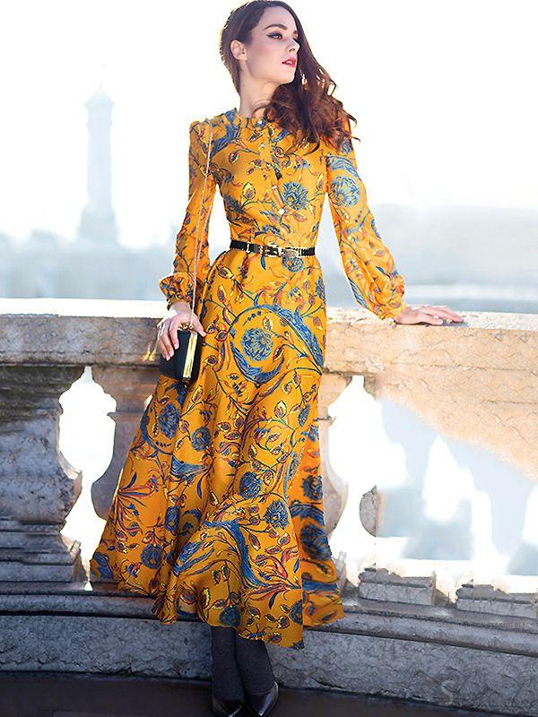 4e8e56ab53 Vintage Puff Sleeve Floral Print Belt Maxi Dress Without Belt -  DressSure.com