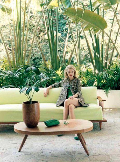 Mid century modern + retro palm decor inspiration. Jessica Stam for Paule Ka by Venetia Scott in Acapulco