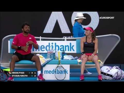 VIDEO: Martina Hingis gives back massage to Leander Paes during Australian Open - http://www.tsmplug.com/tennis/video-martina-hingis-gives-back-massage-to-leander-paes-during-australian-open/
