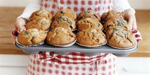 Muffiny z bananami, czekoladą, otrębami i lnem