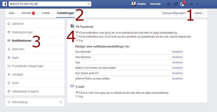 """Den lille Globus øverst til højre holder dig løbende opdatereret. Den tæller når andre: kommenterer dit indhold, liker dine billeder og kommentarer, deler dit opslag osv. Du kan let koble din Facebook side på - så slipper du får at tjekke i venstre spalte.  Sådan gør du:  1) Her ser du den omtale Globus 2) Gå til din Facebook side og klik på indstillinger i øverste bjælke 3) Vælg fanen """"Notifikationer"""" 4) Vælg hvor ofte du vil have besked  Done"""
