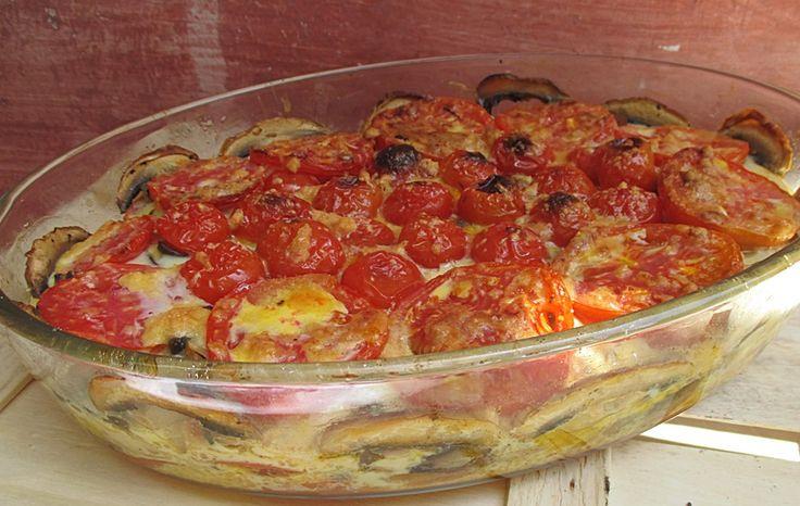 Mancare de rosii cu ciuperci la cuptor