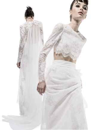Lace long-sleeved crop top and matching floor length skirt | EF2 by Elizabeth Fillmore