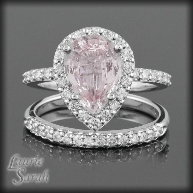 Cotton Candy Pink Shire Wedding Set With Side Diamond Halo Ls2024 6 582 83 Usd