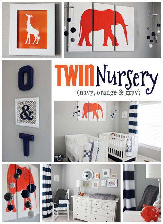 twin nursery - navy, orange and gray