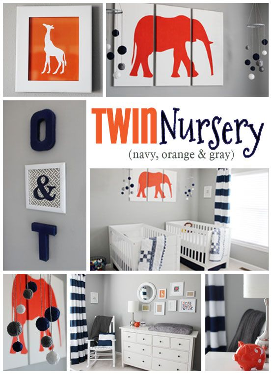 twin nursery - navy, orange and gray... Love the colors but only one crib needed at our house!