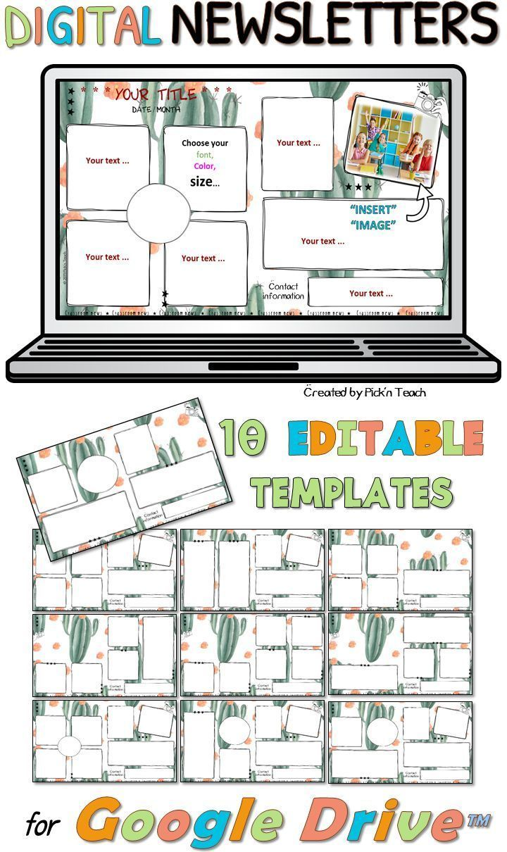 Distance Learning 10 Editable Classroom Newsletters Google Drive Cactus Classroom Newsletter Template Classroom Newsletter Newsletter Template Free