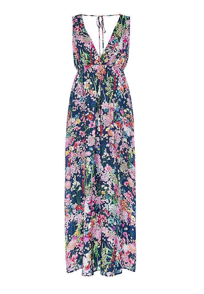 8d0ba9dbc70457 HALLHUBER Seiden-Maxikleid mit Blumendruck Maxikleider - ob mit Blumenprint  oder in aktuellen Trendfarben: