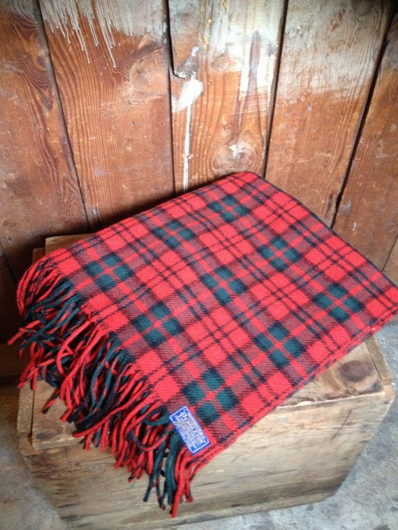 Vintage PENDLETON Wool Blanket Red Plaid Tartan by IndianvsIndian, 36.00. love to take two of these and make a tree skirt