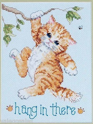 Janlynn Counted #crossstitch Hang In There ♥ #cats #catlover #kitten #mothersday #gift #decor #handcraft #handmade #DIY #project #needlework #stitching #madeinusa
