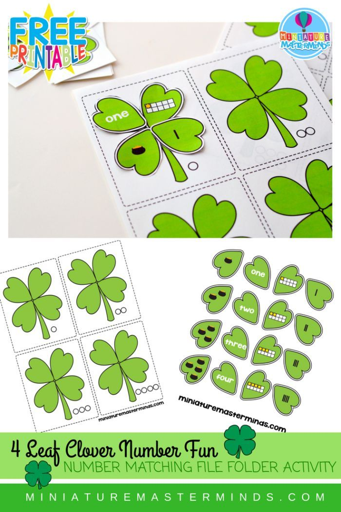 St. Patrick's Day 4 Leaf Clover Counting and Number Matching File Folder Activity Last night while trying in vain to convince a 4 year old that it was bed time…I had the idea for this p…