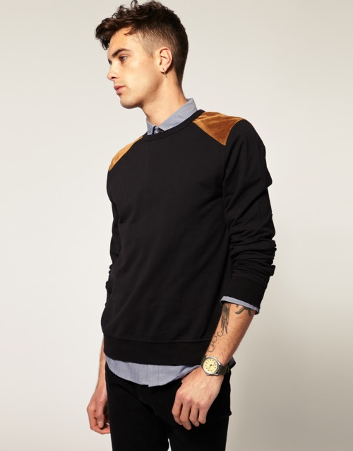 sweater with shoulder patch fashion styling