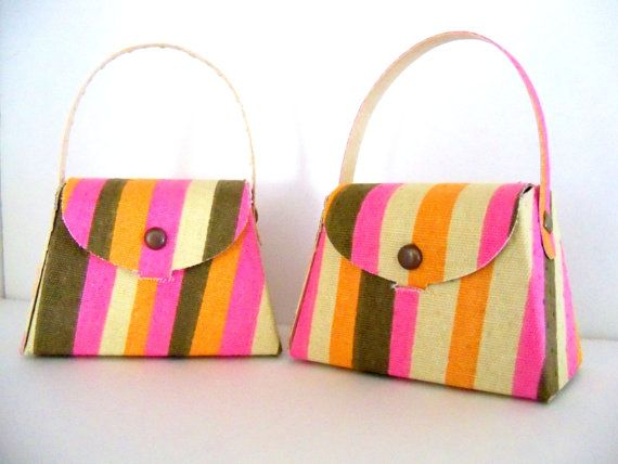 Purse Party Favor made of striped fabric and by SuperCraftyLady, $9.00