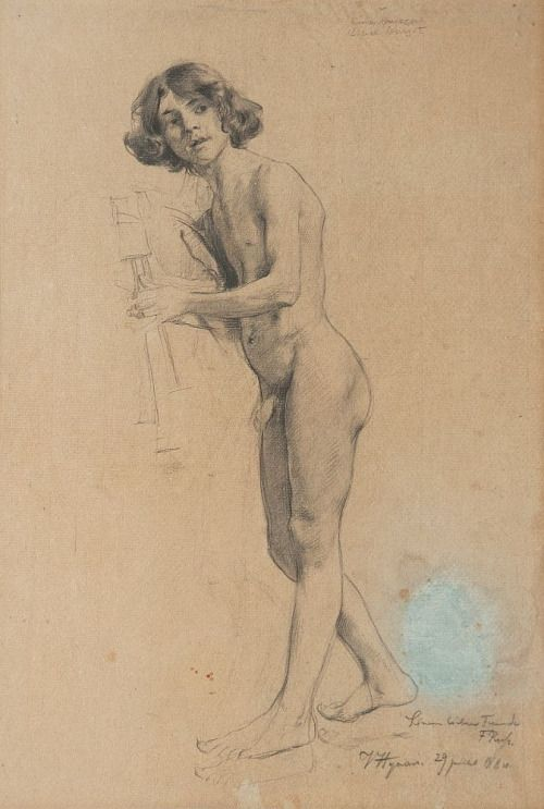 Vojtěch Hynais (1854-1925). Allegory. Drawing, pencil on paper, dat. 1884,
