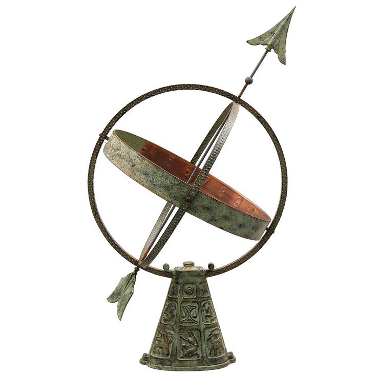 Swedish Metal Sundial With Zodiac Base And Copper Details