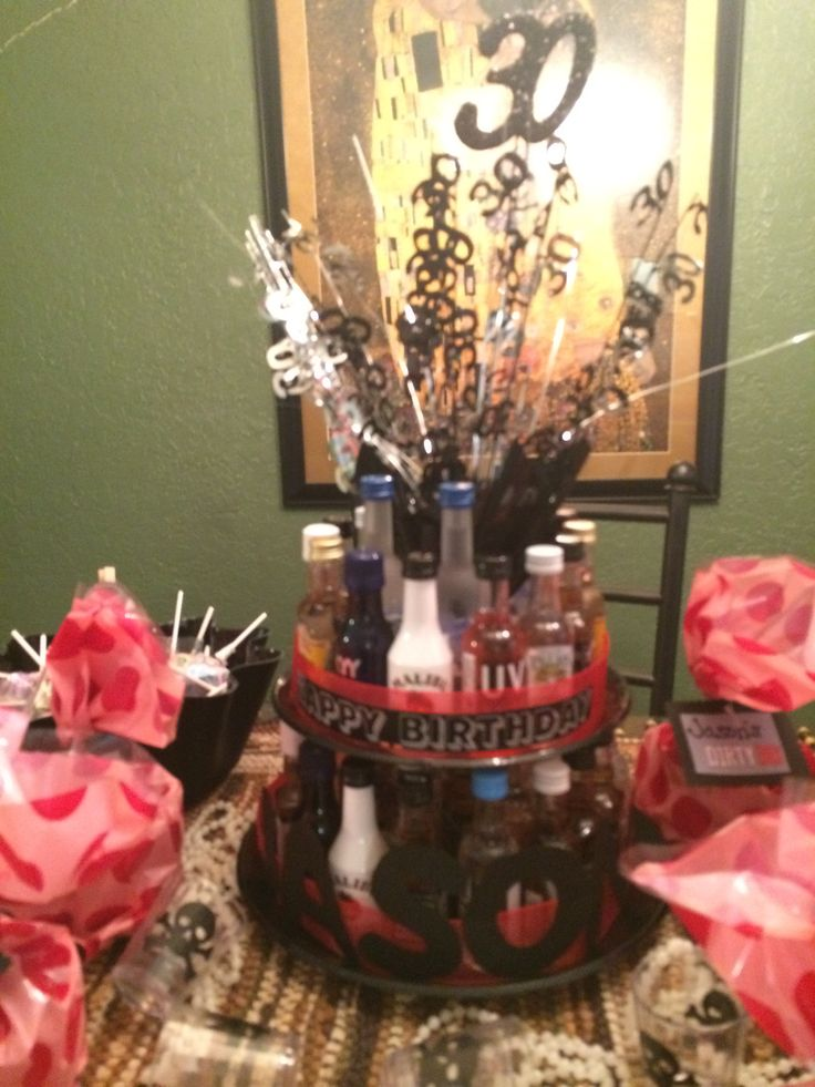 30th birthday mini liquor bottle cake