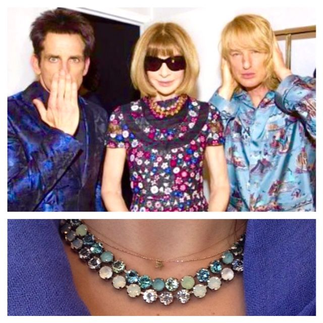 Trend: The famous necklaces worn by Anna Wintour....here in blue like Zoolander's famous Blue Steel. Available in other colors at Bleu comme le ciel!