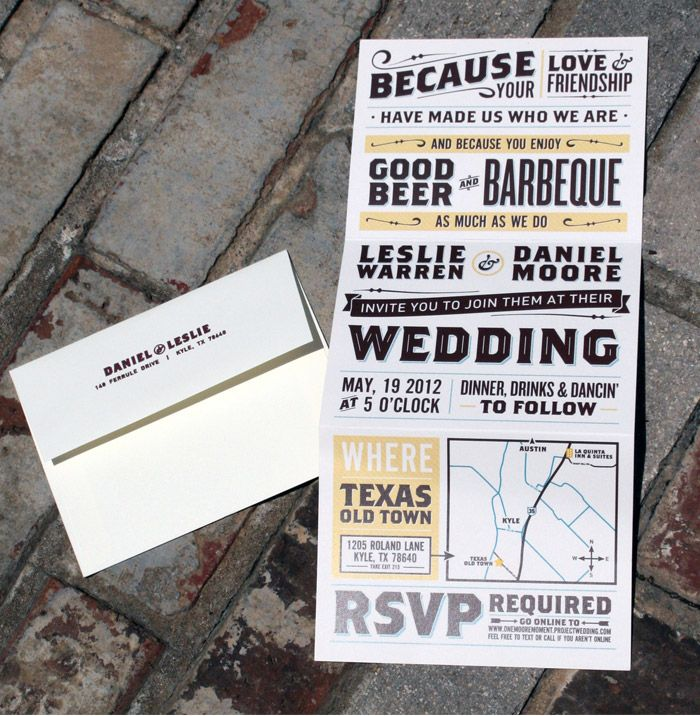 best wedding quotes for invitations%0A Daniel  u     Leslie Wedding Invites and Collateral  Fantastic example of using  several similar fonts  bold  sansserif  capitals  to create a great feel  without